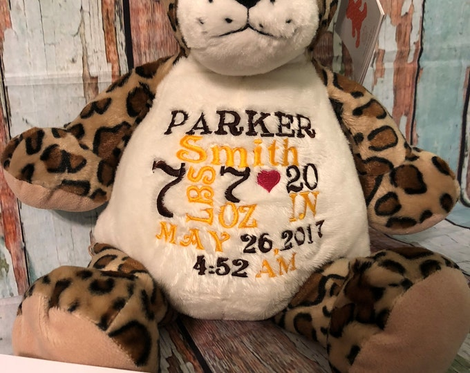 Personalized Baby Gift, personalized plush Leopard, stuffed animal, Embroider Buddy, plush keepsake embroidered birth announcement,