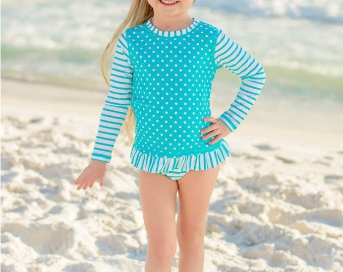 Aqua Striped Polka Long Sleeve Rash Guard Bikini