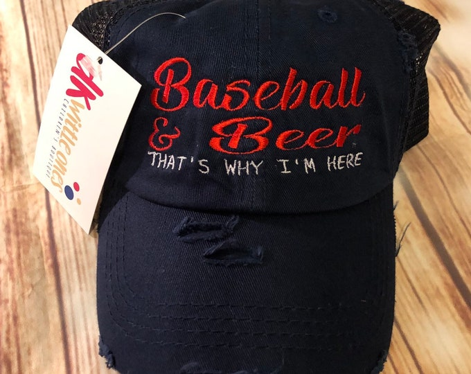 Baseball and Beer High Ponytail Cotton Cap, ponytail baseball hat,messy bun baseball hat,Bridesmaid Gift,Mothers day gift
