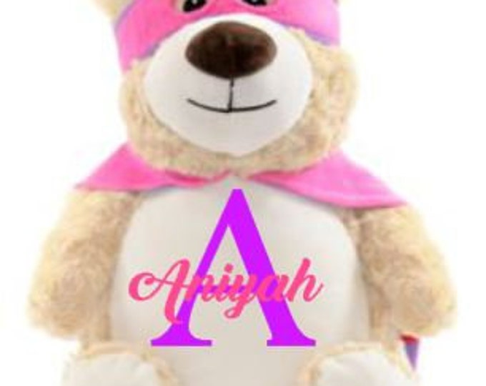 Pink Cubbies Hero Bear Autism Super Power Animal Gift Personalized Cubbie, Stuffed Animal, Keepsake Bear,Birth Announcement,Birthday