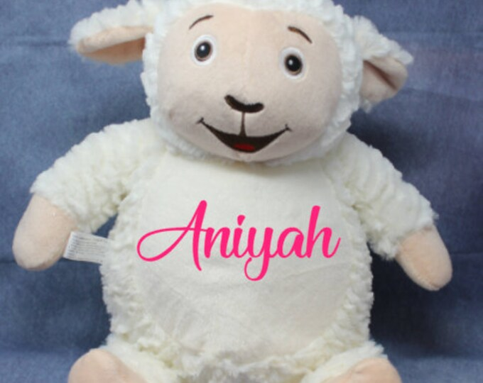Personalized Baby Gift, personalized plush Lamb, stuffed animal, Embroider Buddy, plush keepsake embroidered birth announcement,
