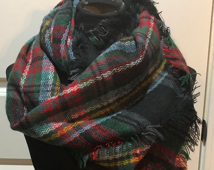 Monogram Plaid Scarf, Buffalo Plaid, Plaid Blanket Scarf, Tartan Plaid Scarf, Womens Plaid Scarf, Buffalo Check Plaid, Infinity Plaid Scarf