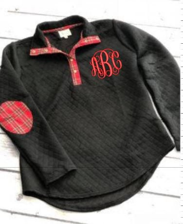 48fb1159d8e Monogram Quilted Black w/Red Elbow Patch Pullover Tunic with Plaid Elbow  Patches