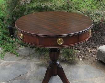 DISPLAY SAMPLE    Not For Sale   Vintage Wells Furniture Co Drum Occasion  Entryway Foyer Round Table Duncan Phyfe Burberry Plaid Mahogany
