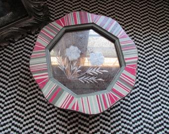 Small Gift Jewelry Box Kid Teen Round Cloverleaf Distressed Pink Sage Stripe Shabby Cottage Chic Mercury Glass