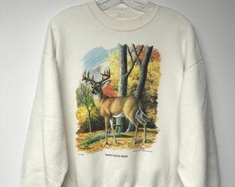 7d4ba78c3584d Vintage 90s White Tailed Deer Nature Chuck Ripper Grandma Sweater Sweatshirt  Crewneck Size Medium-Large
