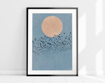 Moon Silhouette Birds Print, Minimalist Nature Art Print, Nordic Wall Art, Flock of Birds Print, Blue Watercolour Art Print, Scandi Home