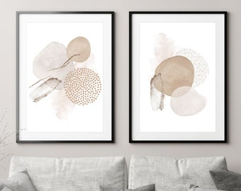 Blush Pink and Neutral Print Set, Minimalist Abstract Wall Art Set, Abstract Shapes Art Prints, Scandinavian Wall Art, Nordic Home Decor