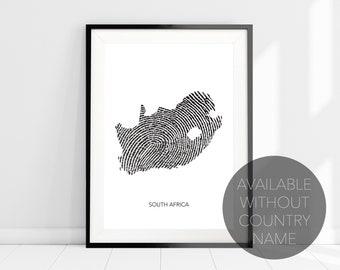 South Africa Map Fingerprint Art Print Poster, Travel Print Wall Art, South African Art, Modern Map Art Home Decor, Africa Art Print