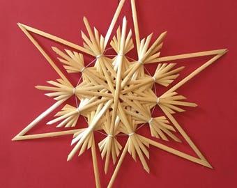 Christmas Tree Decoration - Handmade German Straw Star Ornament – Design 7