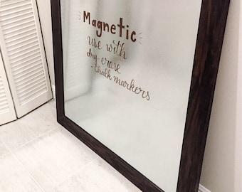 Bulletin Board Galvanized - Memo Board - Framed Dry Erase Board - Dry Erase Magnetic Whiteboard - Farmhouse Decor