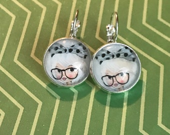 Blonde girl with glasses glass cabochon earrings - 16mm