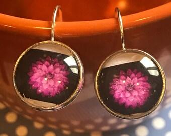 Purple dahlia flower cabochon earrings- 16mm