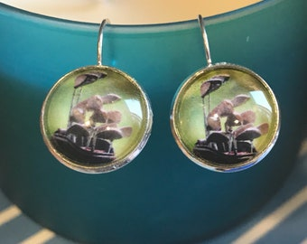 Golf clubs cabochon earrings- 16mm