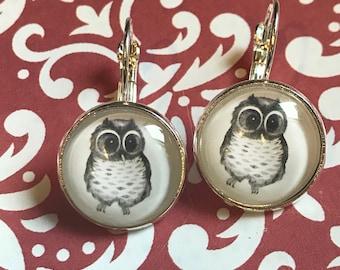 Owl glass cabochon earrings- 16mm