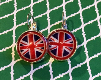 British flag glass cabochon earrings - 16mm