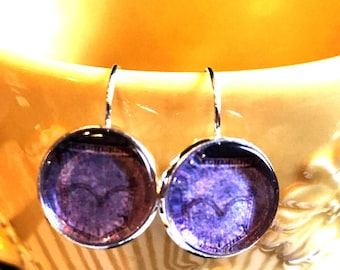 denim Blue jeans pocket cabochon earrings- 16mm