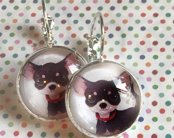 Chihuahua dog glass cabochon earrings - 16mm