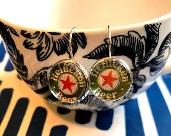 Heineken Beer cabochon earrings- 16mm