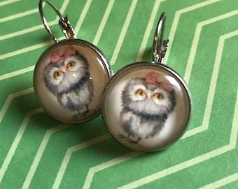 Owl/owlet glass cabochon earrings- 16mm
