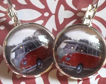 VW bus glass cabochon earrings - 16mm