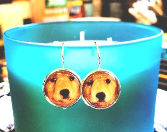 Golden retriever puppy cabochon earrings- 16mm