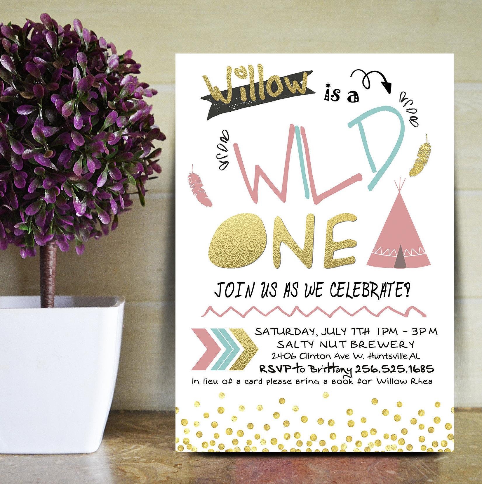 Wild One Birthday Invite | 1st Birthday Invitations | 1st Invite ...