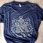 40% OFF MISPRINT Marian Cross UNISEX V-Neck T-shirt - Catholic T-shirt - Catholic Tee - Blessed Virgin Mary T-shirt - Catholic Gift
