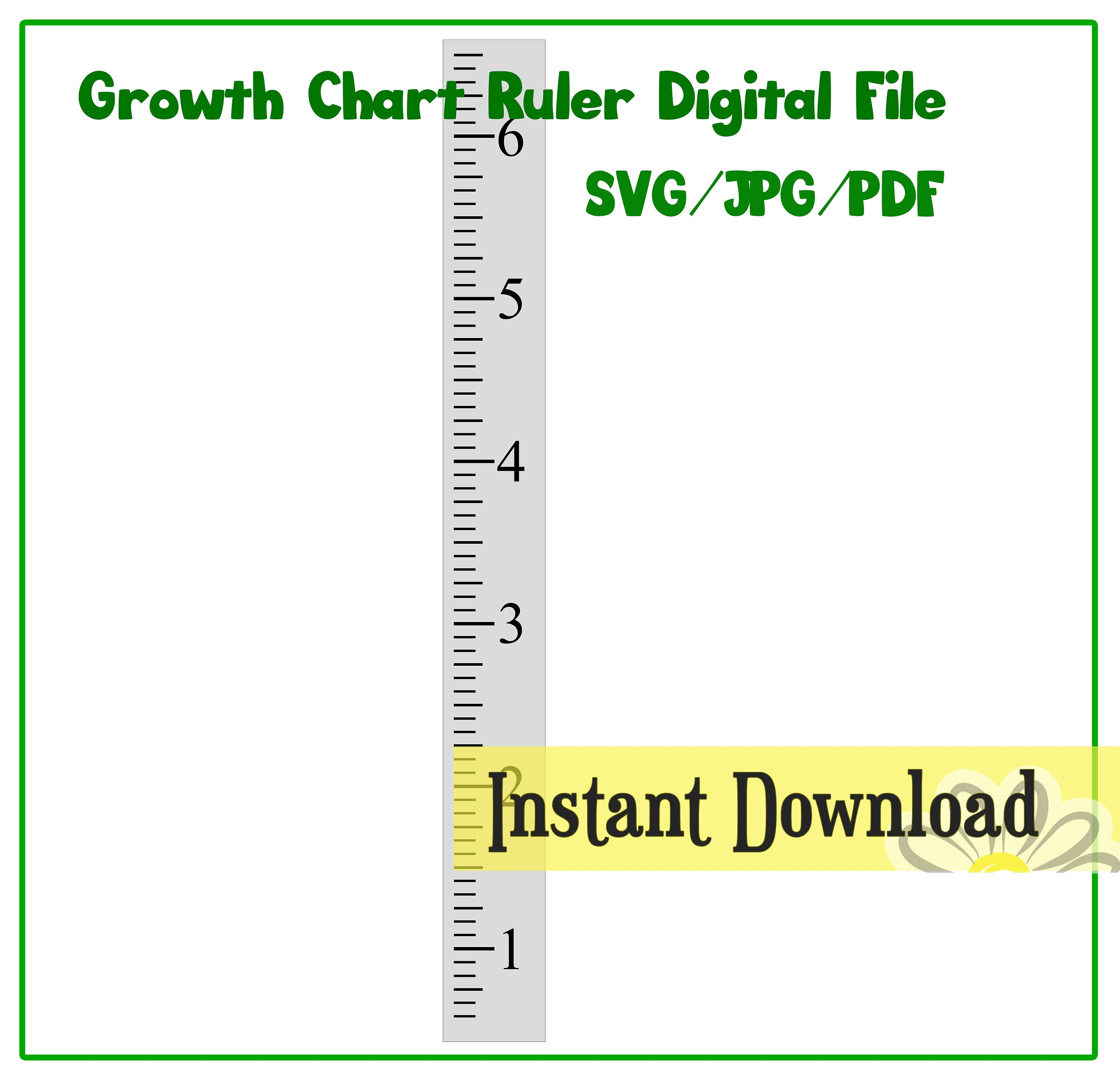 Growth Chart Ruler Stencil File - SVG/JPG/PDF Cut File - Instant Download -  perfect for vinyl and stencils - centered numbers
