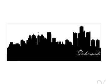 Detroit Michigan Skyline Silhouette  - SVG / Studio3 File for Cameo and Cricut - Instant Download