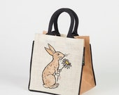Jute Lunch bag with Rabbit print Zero waste Kids bag eco shopping Tote Reusable Bag for Life - Unique