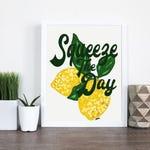 Squeeze The Day Lemon Art - Wall Art - Lemon Decor - Juice Bar Decor - Squeeze The Day Lemon Print - Sarah Hiers Design - Seize the Day Art