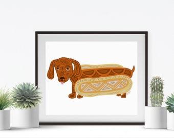 220ccb6e2c91 Hot Dog Print - Hot Dog Art - Weiner Dog Illustration - Dachshund Dog Art - Hot  Dog Animal Print - Dachshund Dog Print - Sarah Hiers Design