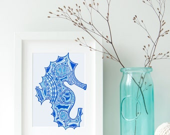 Seahorse Zentangle Print- Seahorse Art- Beach House Art - Ocean Animal Art- Seahorse Print
