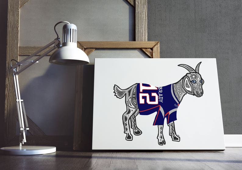 PRINTABLE- Tom Brady GOAT- TB12- New England Patriots Print- Tom Brady Art-  Football Print- NFL Print- Patriots Poster - Digital Download