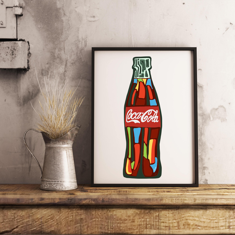 DRUCKBARE Coca Cola Flasche Kunst Coca Cola Cola