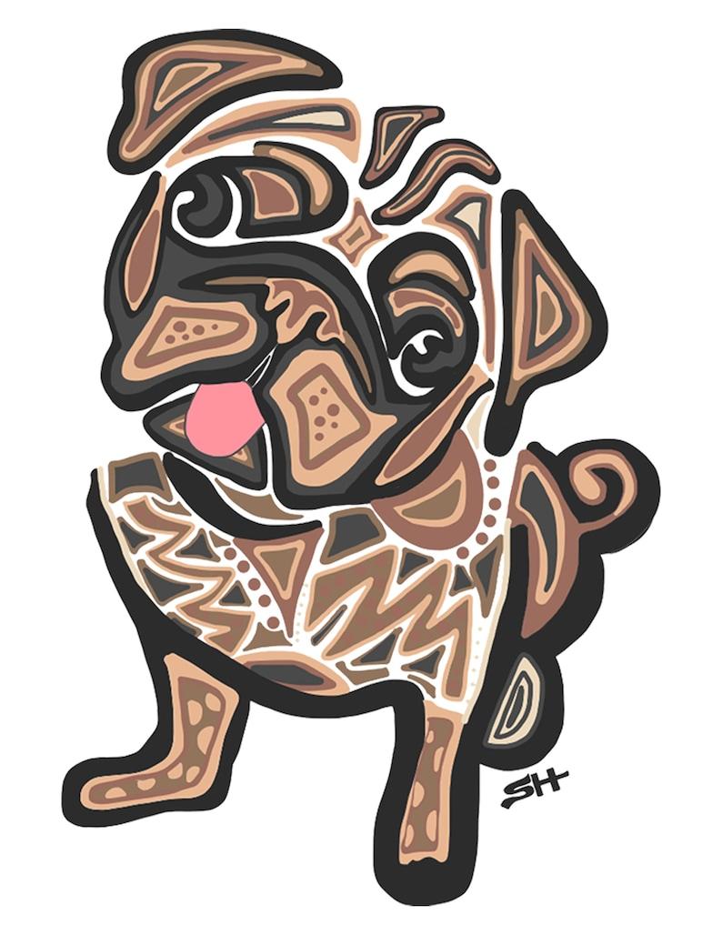 Pug Lover Gift Pug Illustration Pug Portrait Pug Poster Custom Dog Portrait Pug Art Sarah Hiers Design Pug Gift Pug Lover