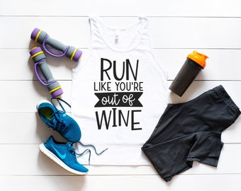 56d4f9b91c7606 Run Like You re Out Of Wine Funny Workout Tank Top    Plus Size Women s Gym  Tee    What Kind of Wine Goes With Squats     Mrs. In Training