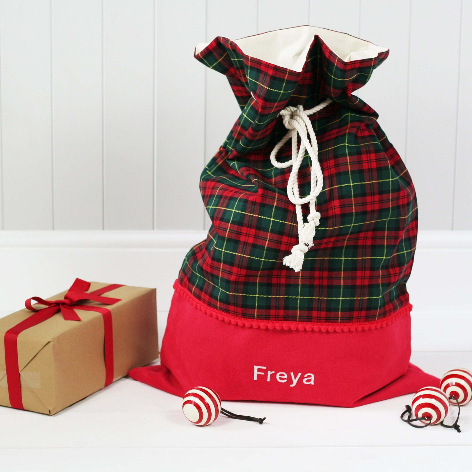 Santa Sack Tartan personalisierte Geschenk Spielzeug Tasche | Etsy