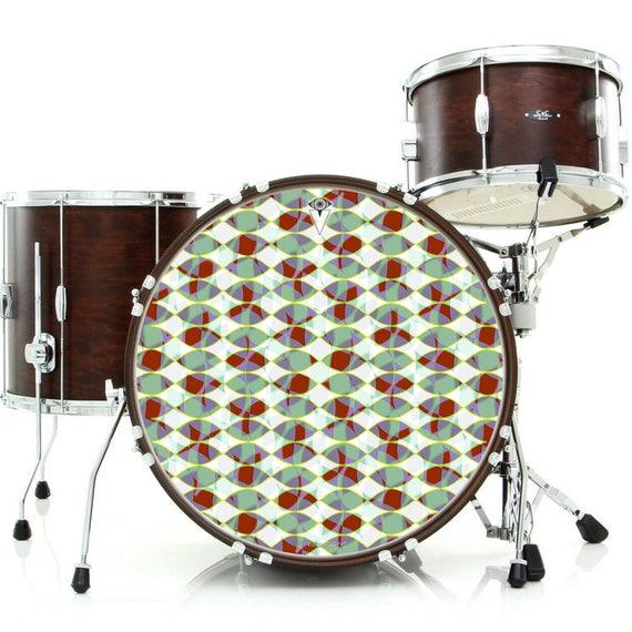 occulus skin for bass snare and tom drums bear design drummer etsy. Black Bedroom Furniture Sets. Home Design Ideas