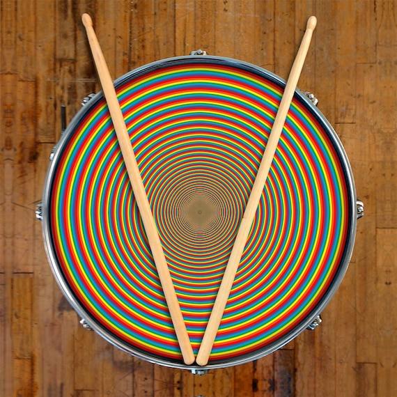 rainbow drum skin for drum set snare bass and tom drums etsy. Black Bedroom Furniture Sets. Home Design Ideas