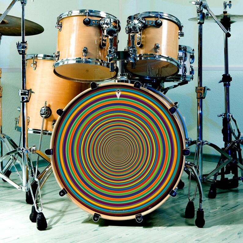 drum skin for bass snare and tom drums supertube rainbow art etsy. Black Bedroom Furniture Sets. Home Design Ideas