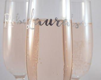 Personalised Glitter Horizontal Name Premium Champagne Flute