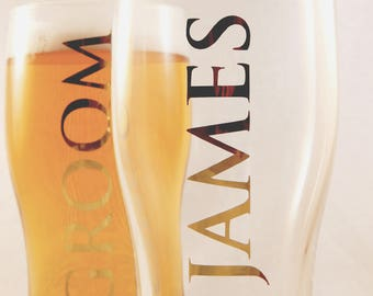 Personalised Vertical Text Pint Glass