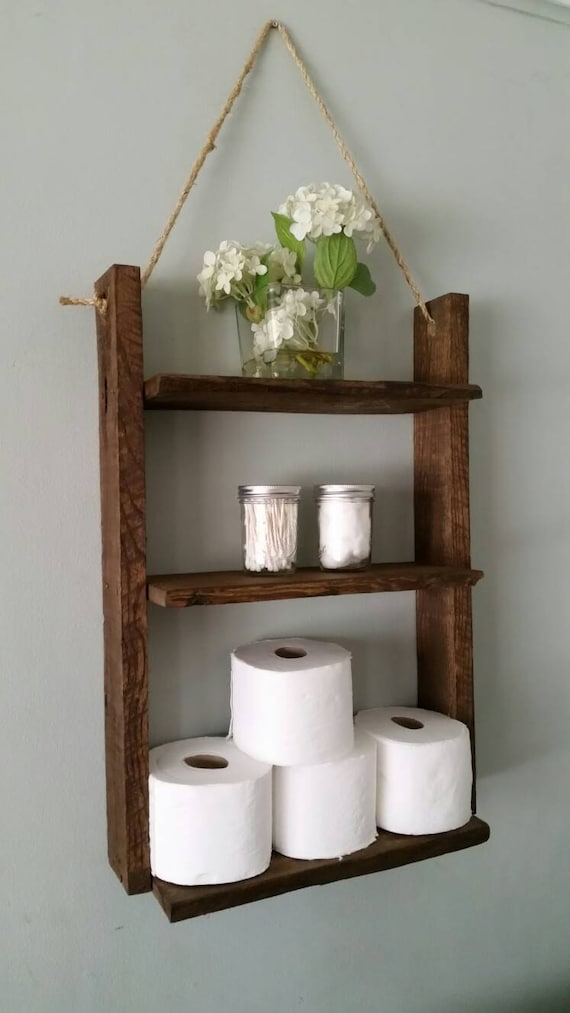 Rustic Ladder Shelf Wood And Rope