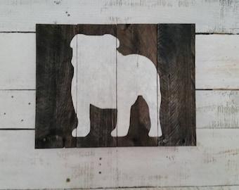 English Bulldog Silhouette Reclaimed Wooden Sign-Bulldog Sign