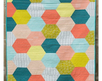 Giant Hexie Quilt PDF Pattern