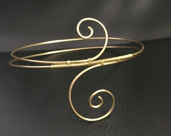 Double spiral solid brass wire wrap dainty boho chic upper arm swirl weave custom made to order and fit gold arm cuff band bind