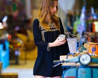 Boho Dress, Embroidered Dress, Short Black Dress, Hippie Dress, Bohemian Dress, Ethnic Dress, Gypsy Dress, Tribal Dress, Oriental Dress