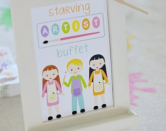 "Art Party ""Starving Artist"" Buffet Sign PRINTABLE PDF Sign, 5"" x 7"" Instant Download, Paint Party, Painters, Palette, Canvas, Paintbrush"